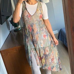 ZARA metallic floral sheer dress